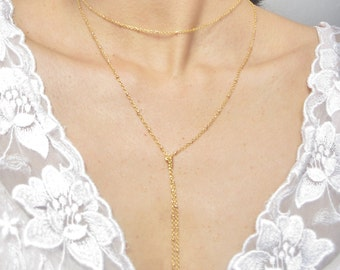 Gold Y Necklace // Dainty gold Necklace // Gold Knot Necklace // Gold Y Choker