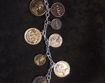 Coin Bracelet, Chain, Chunky bracelet, statement jewelry