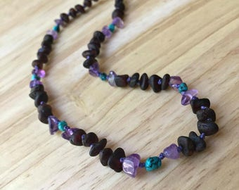 Amber Baby Necklace with Amethyst & Turquoise - Black amber, purple and teal baby, amber necklace pop clasp, amber necklace screw clasp