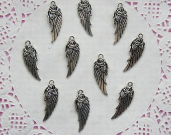 Silver Rose Angel Wing Charms