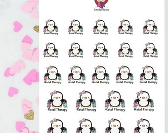Retail Therapy Penguins / Decorative Stickers / Planner Stickers