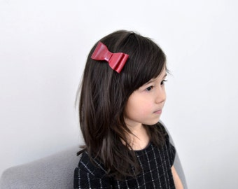 Genuine Leather Hairaccessory, Toddler Hair Accessories, Red hairbow alligator