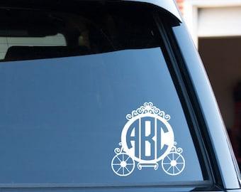 Customize Princess Buggy Monogram Circle Font Car Window Decal