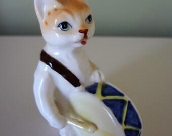 Cat The Drummer Collectible Porcelain Vintage