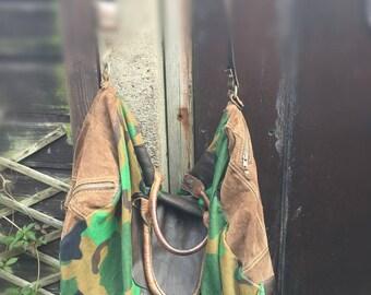 Sports bag overnight bag/big bag, sports bag, leather and army print, weekender bag, unisex bag, travel bag, gym bag, super bag, Duffle Bag