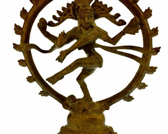 Hindu Lord Shiva as Nataraja in Brass, Religious Statuary