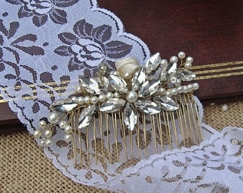 Swarovski hair comb, rhinestone bridal hair comb, pearl hair comb