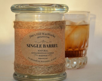 Whiskey Candle, Soy & Beeswax Candle Single Barrel/6 oz wt.