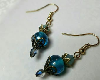 Bright blue, luster-finished, glass bead and crystal earrings