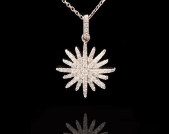 14k White gold 0.45 ct VS Diamonds Starburst Necklace, Star Necklace, Starburst pendant , Diamond Star Necklace