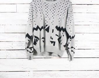 Retro sweater / Vintage pullover / Vintage patterned sweater / Medium