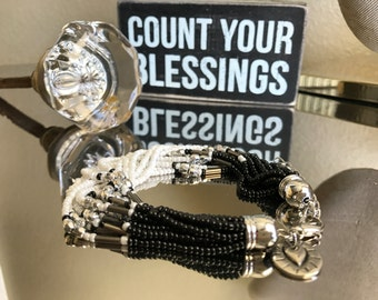 Black, White, and Silver beaded bracelet