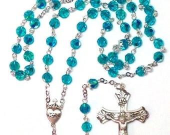Swarovski Blue Zircon AB Sterling Silver Rosary