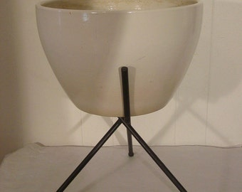 Modern, 1950s planter, ceramic pot and rod iron stand, mid century modern, architectural pottery, mcm
