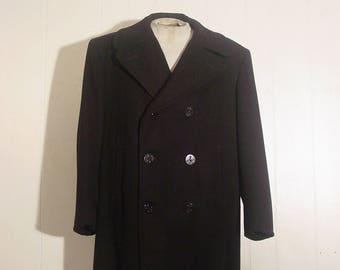 Vintage pea coat, vintage coat, wool coat, anchor buttons, US Navy coat, vintage P coat, 44