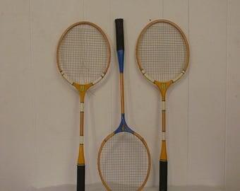 Three racquet set, decorative raquets, home decor, vintage racquet, badmitten, vintage sports