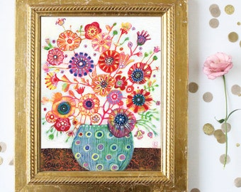 Floral Art - Original Acrylic painting - Pink Red Coral Peach Flowers - 8x10 - Canvas Art - Folk Art - Free Shipping within US