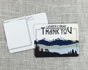 Colorado Rocky Mountains Wedding Thank You Postcard