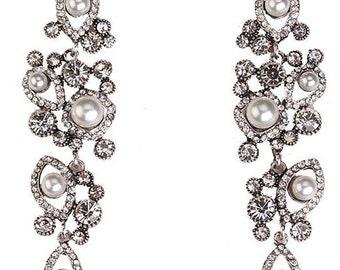Deluxe Crystal & Pearl Chandelier Earrings EA6069n