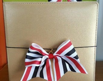Red, White and Black Striped Bow Planner Clip or Charm