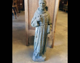 Vintage St. Francis of Assisi Statue for Home or Garden / Indoor Outdoor Religious Catholic Statuary Concrete St. Francis with Bird