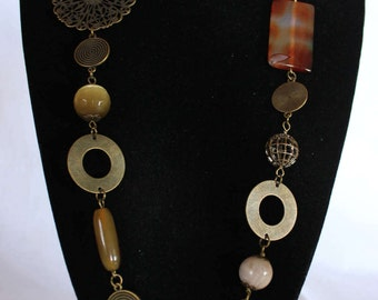 Amber brass chain necklace with semiprecious stones and maxi