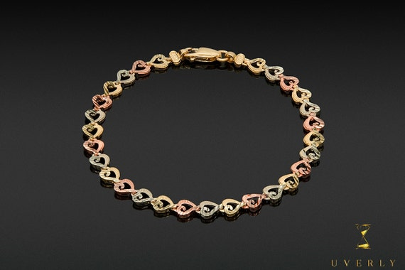 14k Solid Yellow White Rose Gold Tri-Color Heart Charms Women's Bracelet