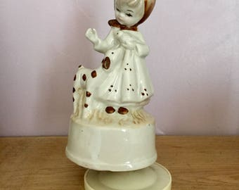 Moving Vintage Porcelain Doll Music Box