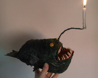 Anglerfish with Candle Papermache Fish Sculpture green blue