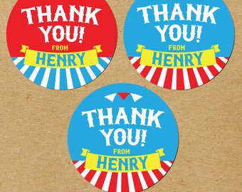 Circus Birthday Stickers, Circus Birthday Thank You Stickers, Birthday Favor Stickers, Circus Party Favor Stickers