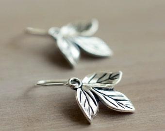 Leaf earrings   Sterling silver simple boho earrings   Woodland foliage dangling earrings   Nature earrings   Gift   Hypoallergenic titanium