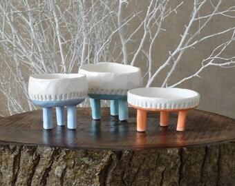 Ceramic cake stand, Blue Dish, Ceramic dish, White Ceramic serving dish, White bowl, Housewarming Gift, Pottery dish, Unique ceramic dish