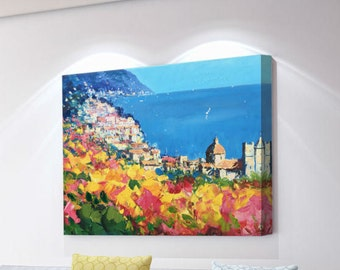 Positano Painting on Canvas Beach Painting Original Painting Amalfi Italy Painting Seascape Painting Wall Art Anniversary Gifts for Wife