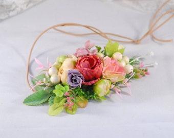 Red Pink flower crown Flower halo Bridal Crown Bridal flower wreath Wedding flower Bridal aceccessories Floral Head Wreath Girl flower crown