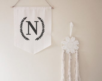 Initial Wall Banner // gift // housewarming // for her // for him // custom // letter // name