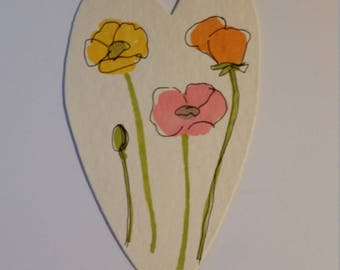 Handmade Watercolor Poppy Card