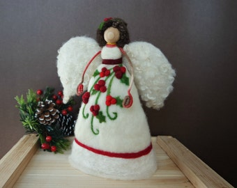 Angel Tree Topper - Needle Felted Christmas Angel - Waldorf Wool Angel - Christmas Mantle Decoration - Wool Fairy - Made to Order