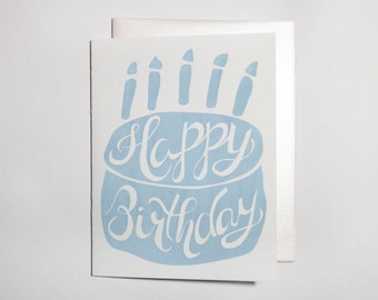 Happy Birthday Cake Letterpress Greeting Card