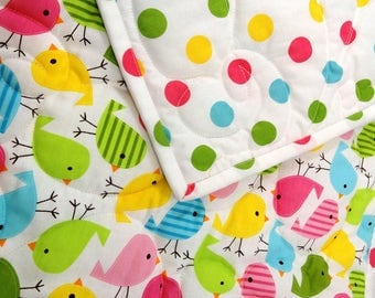Baby Quilt with Birds and Polka-dots Bright colorful quilt