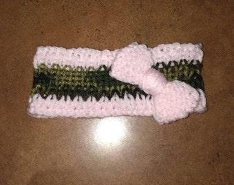 Knit Pink & Camo Baby Headband