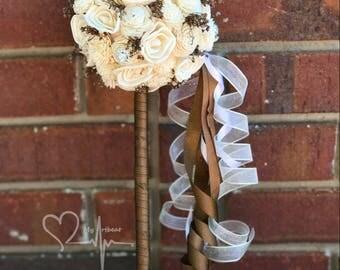 Rustic Sola Flower Girl Wand, Ivory Sola Wand, Brown & Ivory Wand, Sola Brooch Flower Girl Wand, Wedding Wand, Bridesmaid Wand