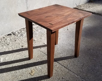 Custom Walnut End Table - Solid Hardwood with Visible Joinery