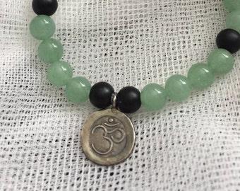 Jade gemstone stretch Tibetan ohm yoga meditation balance mala prayer bead stack bracelet