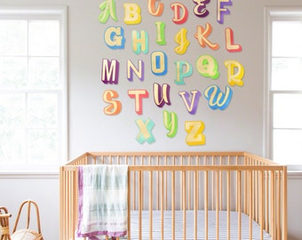 abc letters for baby nursery wall art wood decor home decor wooden letters abc letters alphabet letters wall art word art signs