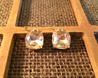 Blush and Gold Square Drop Earrings - Perfect for Bridesmaids, Mother's Day, Birthday, Everyday!