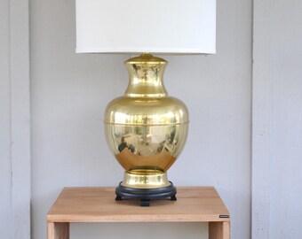 brass ginger jar lamp large hollywood regency polished - Ginger Jar Lamps