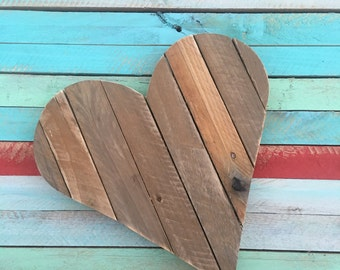 Rustic Wood Heart-Wooden Heart- Reclaimed Heart Sign-Valentine's Decor-Anniversary-Wedding Gift-Heart-Cottage Chic-Pallet Sign