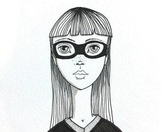 Hipster Girl Art, Bandit Illustration, Masked Woman Line Drawing, Original Black and White Illustration