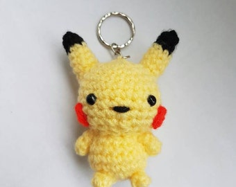Pikachu amigurumi/crochet keyring | Pokemon inspired | chibi keychain | bag accessories | gifts for him | gifts for her | [Made to order]