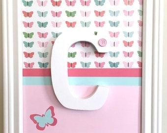 Butterfly Girl's Room Decor, Wall Art, Framed Wooden Letters